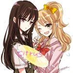 2girls ;d aihara_mei aihara_yuzu black_hair black_neckwear blonde_hair blush bow bowtie citrus_(saburouta) collared_shirt commentary_request copyright_name eyebrows_visible_through_hair green_eyes hair_between_eyes long_hair looking_at_viewer multiple_girls nail_polish necktie one_eye_closed open_mouth pink_shirt red_bow red_nails red_neckwear school_uniform shirt signature sketch smile sugano_manami sweater_vest upper_body v violet_eyes white_background white_shirt yellow_bow yuzu_(fruit)