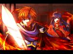 1boy 1girl absurdres blue_cape blue_eyes blue_hair blue_headband breastplate bruise_on_face cape capelet closed_mouth delsaber fire fire_emblem fire_emblem:_the_binding_blade floating_hair hair_tubes headband highres holding holding_sword holding_weapon indoors lilina_(fire_emblem) long_hair open_mouth orange_hair red_capelet red_shirt roy_(fire_emblem) shiny shiny_hair shirt short_sleeves shoulder_armor spaulders standing sword upper_body weapon