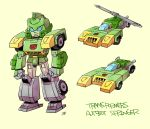 aircraft autobot blue_eyes car character_name chibi clenched_hands copyright_name ground_vehicle helicopter mecha motor_vehicle multiple_views solo springer sunafuki_tabito transformers yellow_background
