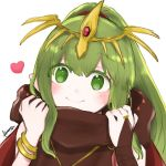 1girl 504723f bangs blush bracelet bridal_gauntlets closed_mouth diadem eyebrows_visible_through_hair fire_emblem fire_emblem:_mystery_of_the_emblem green_eyes green_hair heart high_ponytail highres jewelry long_hair ponytail shiny shiny_hair signature simple_background sketch smile solo tiki_(fire_emblem) very_long_hair white_background