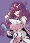 1girl absurdres anger_vein bangs bare_shoulders breasts capelet dress fate/grand_order fate_(series) food fur-trimmed_dress fur_trim hair_between_eyes hair_ribbon highres large_breasts long_hair looking_at_viewer ootato open_mouth ponytail popsicle purple_dress purple_hair purple_ribbon red_eyes ribbon scathach_(fate)_(all) scathach_skadi_(fate/grand_order) simple_background tiara