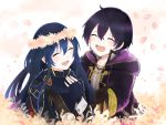 1boy 1girl 504723f :d black_coat blue_gloves blue_hair blush child closed_eyes coat collarbone facing_viewer fingerless_gloves fire_emblem fire_emblem_awakening floating_hair gloves head_wreath highres hood hood_down hooded_coat long_hair lucina lucina_(fire_emblem) morgan_(fire_emblem) mother_and_son open_mouth purple_hair shiny shiny_hair smile very_long_hair