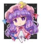 1girl artist_name bangs blue_ribbon chibi commentary_request crescent crescent_moon_pin dress eyebrows_visible_through_hair full_body grey_background hair_ribbon hand_up hat hat_ornament heart heart_background long_hair long_sleeves looking_at_viewer mob_cap noai_nioshi parted_lips patchouli_knowledge pink_dress pink_headwear purple_hair red_ribbon ribbon sleeves_past_wrists solo star_(symbol) star_hat_ornament striped thigh-highs touhou two-tone_background vertical-striped_dress vertical_stripes very_long_hair violet_eyes white_background white_legwear wide_sleeves