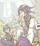 2boys ahoge black_hair blush chair checkered checkered_scarf closed_eyes danganronpa eyebrows_visible_through_hair food male_focus multiple_boys new_danganronpa_v3 ouma_kokichi pants purple_hair saihara_shuuichi scarf sitting straitjacket ticktack_chicken tree white_pants