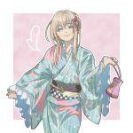 1boy bag blonde_hair blue_eyes chagashi frilled_sleeves frills hair_ornament handbag heart japanese_clothes kimono male_focus midare_toushirou otoko_no_ko smile touken_ranbu yukata