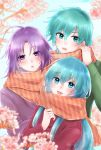 1girl 2boys 504723f :d ahoge bangs blue_eyes blue_hair blurry_foreground blush casual coat eirika_(fire_emblem) ephraim_(fire_emblem) eyebrows_visible_through_hair fire_emblem fire_emblem:_the_sacred_stones flower green_sweater hair_between_eyes hair_intakes highres long_hair long_sleeves looking_at_viewer lyon_(fire_emblem) multiple_boys open_mouth orange_scarf pink_flower purple_hair purple_sweater red_coat scarf shiny shiny_hair smile striped striped_scarf sweater very_long_hair violet_eyes