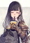 1girl armor black_hair blush bubble_tea closed_eyes closed_mouth cup drinking drinking_straw earrings eyebrows_visible_through_hair gauntlets gradient gradient_hair grey_hair highres holding holding_cup jewelry kusano_shinta long_hair mole mole_under_eye multicolored multicolored_hair original pauldrons school_uniform serafuku shield shoulder_armor single_earring smile solo upper_body vambraces
