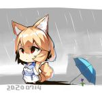 1girl animal_ear_fluff animal_ears bangs barefoot blue_umbrella chibi closed_mouth clouds cloudy_sky collarbone commentary_request dated day dress eyebrows_visible_through_hair flower fox_ears fox_girl fox_tail hair_between_eyes highres light_brown_hair long_sleeves looking_away original outdoors purple_flower rain red_eyes sky solo tail tail_raised umbrella v-shaped_eyebrows white_dress yuuji_(yukimimi)