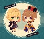2girls alternate_costume armband bangs bare_legs bare_shoulders black_bow black_dress black_footwear black_gloves black_ribbon blonde_hair blue_background blush bow braid brown_hair character_name chibi closed_mouth cocktail_dress commentary crown_braid dress dress_lift earrings english_commentary eyebrows finger_to_chin flower frilled_dress frills frown full_body girls_frontline gloves green_eyes grizzly_mkv_(girls_frontline) hair_bow hair_flower hair_ornament hair_ribbon jewelry lifted_by_self multiple_girls open_mouth pout red_flower ribbon shiny shiny_hair shoes short_hair sidelocks silence_girl smile standing strapless strapless_dress teeth thigh_strap tied_hair violet_eyes welrod_mk2_(girls_frontline) yellow_dress