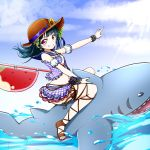 1girl bangs bare_shoulders black_scrunchie blue_bow blue_hair blue_sailor_collar blue_sky blush bow brown_footwear brown_headwear clouds commentary_request day detached_sleeves eyebrows_visible_through_hair floating_hair flower grin hat hat_flower highres kuena long_hair looking_at_viewer love_live! love_live!_sunshine!! outdoors outstretched_arm plaid plaid_skirt polka_dot polka_dot_scrunchie puffy_short_sleeves puffy_sleeves purple_skirt riding sailor_collar sandals scrunchie shark short_sleeves skirt sky smile solo straw_hat tsushima_yoshiko v-shaped_eyebrows violet_eyes water white_sleeves wrist_scrunchie yellow_flower