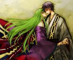 1boy 1girl alternate_costume black_hair c.c. c_(rahit) code_geass couple eye_contact floating_hair from_side green_eyes green_hair grey_kimono holding_hands japanese_clothes kimono lelouch_lamperouge long_hair looking_at_another obi profile purple_kimono sash very_long_hair violet_eyes