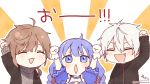 1girl 2boys :d ^_^ ahoge aran_sweater arm_up arms_up bangs black_jacket blue_eyes blue_hair blush braid brown_hair chibi closed_eyes eyebrows_visible_through_hair fang gloves grey_sweater hair_between_eyes jacket kanae_(nijisanji) kuzuha_(nijisanji) long_hair multiple_boys nijisanji open_clothes open_jacket open_mouth outline parted_lips puffy_short_sleeves puffy_sleeves short_sleeves signature smile sofra sunburst sunburst_background sweater translation_request turtleneck turtleneck_sweater twin_braids twitter_username upper_body v-shaped_eyebrows virtual_youtuber white_gloves white_hair white_outline yuuki_chihiro