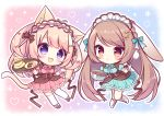 2girls animal_ears antenna_hair blue_bow blue_dress blue_eyes boots bow bowl breasts brown_footwear brown_hair cat_ears cat_girl cat_tail center_frills chibi commentary_request cookie cross-laced_footwear cup dress food frilled_hairband frills hairband heart holding holding_bowl holding_tray knee_boots lace-up_boots light_brown_hair long_hair medium_breasts mixing_bowl multiple_girls original pink_dress pink_footwear pink_hairband puffy_short_sleeves puffy_sleeves rabbit_ears red_eyes ryuuka_sane saucer shoes short_sleeves spatula tail thigh-highs tray two_side_up very_long_hair white_footwear white_legwear