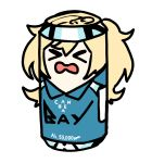 >_< alcohol beer_can blew_andwhite blonde_hair can gambier_bay_(kantai_collection) highres kantai_collection open_mouth pun simple_background twintails white_background