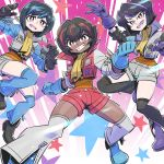3girls boots clenched_hands dark_skin decepticon genderswap genderswap_(mtf) gloves matching_outfit mecha multicolored_hair multiple_girls open_hands open_mouth personification pink_eyes scarf short_hair short_shorts shorts skywarp starscream streaked_hair sunafuki_tabito thundercracker transformers