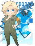 1boy ace_combat ace_combat_7 aircraft airplane armband artist_request beard blonde_hair blue_eyes character_name chibi count_(ace_combat_7) emblem facial_hair fighter_jet grin hand_on_hip hand_on_own_chin hat jet looking_to_the_side military military_vehicle pilot pilot_suit sin_lines smile su-37 top_hat twitter_username