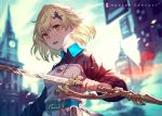 1girl belt blonde_hair blurry blurry_background book building clock clock_tower clouds cloudy_sky english_text fingernails hair_ornament highres holding holding_sword holding_weapon kusano_shinta open_mouth orange_eyes original outdoors short_hair sky solo sword tower weapon