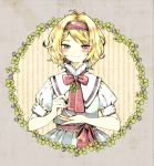 1girl album_cover alice_margatroid antenna_hair blonde_hair blue_dress blush clover clover_(flower) commentary_request cover dress flower four-leaf_clover frame frilled_hairband frills hairband holding looking_at_viewer red_hairband red_neckwear shirt short_hair short_sleeves smile solo striped takanashi_minato touhou upper_body white_shirt