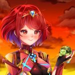 1girl animal arichan bangs blush breasts highres holding holding_animal homura_(xenoblade_2) jewelry orange_sky red_eyes redhead short_hair sky smile swept_bangs tiara turters_(xenoblade) turtle upper_body watermark xenoblade_(series) xenoblade_2