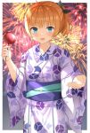 1girl :d alternate_costume bangs black_bow blonde_hair blue_eyes blunt_bangs bow candy_apple cowboy_shot fireworks floral_print food gochuumon_wa_usagi_desu_ka? hair_bow highres holding holding_food japanese_clothes kimono kirima_sharo long_sleeves looking_at_viewer open_mouth print_kimono raru0310 reaching_out shiny shiny_hair short_hair side_ponytail smile solo standing white_kimono wide_sleeves