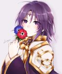 1boy 504723f ahoge androgynous bangs blue_flower cape circlet closed_mouth eyebrows_visible_through_hair eyes_visible_through_hair fire_emblem fire_emblem:_the_sacred_stones flower grey_background hair_between_eyes hair_tubes highres holding holding_flower long_hair long_sleeves looking_at_viewer lyon_(fire_emblem) purple_cape purple_hair red_flower shiny shiny_hair signature simple_background solo violet_eyes