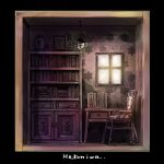 book bookshelf cabinet chair desk english_text highres indoors jar michihisa! monochrome no_humans original photo_(object) picture_frame room silk spider_web star_(symbol) treasure_chest tree window
