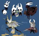 1girl alternate_costume arizuka_(catacombe) armor cloak commentary cracked_mask dark_souls dark_souls_iii dress eating full_body glowing grey_cloak helmet high_heels highres holding hollow_eyes hollow_knight hollow_knight_(character) hornet_(hollow_knight) horns knight knight_(hollow_knight) looking_at_viewer mask multiple_others mushroom no_humans rabbit red_cloak shield simple_background souls_(from_software) standing suitcase sword weapon