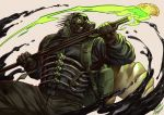 1boy artist_name backpack bag belt black_gloves caiman dorohedoro dual_wielding fighting_stance food gas_mask gloves holding holding_weapon male_focus mask military military_uniform pants polearm simple_background snap-fit_buckle solo steel_peach uniform weapon