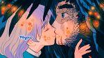 1boy 1girl artist_name black_feathers blue_eyes closed_eyes derivative_work eyebrows_visible_through_hair feathers glowing howl_(howl_no_ugoku_shiro) howl_no_ugoku_shiro kiss medium_hair meyoco profile screencap_redraw silver_hair sophie_(howl_no_ugoku_shiro) star_(symbol)