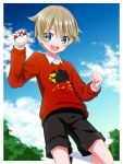 1boy bangs blue_eyes blue_sky blush clouds hair_between_eyes highres looking_at_viewer male_focus open_mouth outdoors poke_ball poke_ball_(basic) pokemon pokemon_(game) pokemon_swsh print_sweater rionoil shorts sky smile solo sweater youngster_(pokemon)