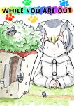 4girls animal_ears arm_rest building chibi coat commentary_request cover cover_page doujin_cover giantess grass grey_wolf_(kemono_friends) highres kemono_friends long_sleeves looking_at_another multicolored_hair multiple_girls multiple_persona murakami_kou_(raye) northern_white-faced_owl_(kemono_friends) own_hands_together size_difference smile tree wolf_ears