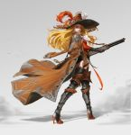 1girl absurdres armor black_gloves black_legwear blonde_hair brown_coat brown_headwear closed_mouth coat coat_on_shoulders dust earrings feathers garter_straps gloves goyoyoo greaves gun hat hat_feather high_heels highres holding holding_gun holding_weapon hoop_earrings jacket jacket_on_shoulders jewelry long_hair looking_back orange_eyes original red_lips rifle smile solo thigh-highs weapon