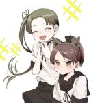 2girls animal_ears ayanami_(kantai_collection) black_neckwear black_skirt blush brown_hair cat_ears closed_eyes closed_mouth expressive_hair fake_animal_ears hair_ribbon hands_together kantai_collection long_hair multiple_girls open_mouth pleated_skirt ponytail remodel_(kantai_collection) ribbon sailor_collar school_uniform serafuku shikinami_(kantai_collection) short_sleeves side_ponytail simple_background skirt sparkle tori_knkr white_background