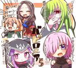 1boy 1other 3girls :d :t ^_^ bangs bare_shoulders black_leotard blue_legwear blush breasts brown_hair closed_eyes closed_mouth collar cup disposable_cup enkidu_(fate/strange_fake) eyebrows_visible_through_hair fate/grand_order fate/strange_fake fate_(series) forehead gloves green_hair green_shirt hair_between_eyes hair_over_one_eye heterochromia holding holding_cup holding_spoon hood hood_up jako_(jakoo21) labcoat large_breasts leonardo_da_vinci_(fate/grand_order) leotard light_brown_hair long_hair looking_at_viewer mash_kyrielight medusa_(lancer)_(fate) multiple_girls open_clothes open_mouth parted_bangs pink_collar pink_hair pleated_skirt ponytail red_eyes red_skirt rider romani_archaman shirt skirt smile sparkle spoon sweat thigh-highs translation_request turn_pale violet_eyes white_gloves |_| ||_||