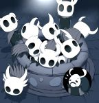 6+others arizuka_(catacombe) climbing cloak commentary elderbug flying_sweatdrops highres hollow_knight horns knight_(hollow_knight) looking_at_viewer mask multiple_others no_humans standing sweatdrop well