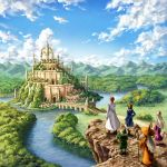 bridge brown_hair city commentary_request day elf facing_away fantasy garutaisa hat long_hair mountain mountainous_horizon orange_hair original outdoors pointy_ears river robe scenery short_hair silver_hair sky staff water witch_hat