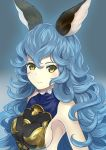 1girl absurdres animal_ears bare_shoulders blue_hair breasts closed_mouth commentary_request eyebrows_visible_through_hair eyelashes ferry_(granblue_fantasy) granblue_fantasy hair_between_eyes hajika highres long_hair looking_at_viewer sideboob solo upper_body wavy_hair yellow_eyes