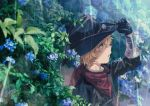 1boy billy_the_kid_(fate/grand_order) black_gloves blonde_hair blue_eyes cowboy_hat fate/grand_order fate_(series) flower futaba_(futaba_uc) gloves hat highres male_focus rain scarf