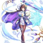 braid braided_ponytail breastplate breasts brown_eyes brown_hair brunhilde_(kami_project) buttons cape dress gloves hip_armor holding holding_sword holding_weapon ice kami_project large_breasts legband magic official_art pantyhose snowflakes sword tight_dress weapon white_cape white_dress
