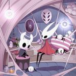 1girl arizuka_(catacombe) book bottle bug character_doll cloak commentary full_body grey_cloak highres hollow_eyes hollow_knight hornet_(hollow_knight) horns indoors insect knight_(hollow_knight) lamp lantern mask needle no_humans pillow rain red_cloak silk sitting sleeping spider spider_web stuffed_toy weapon window