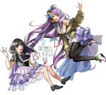 2girls black_hair braid floating green_jacket grey_eyes jacket junna_(singer) long_hair looking_to_the_side macross macross_delta mikumo_guynemer multiple_girls pote-mm purple_hair purple_skirt real_life red_eyes seiyuu skirt very_long_hair walkure_(macross_delta)