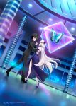 1boy 1girl black_hair blonde_hair bug butterfly command_spell couple dancing dress fate/grand_order fate_(series) formal fujimaru_ritsuka_(male) full_body hetero high_heels insect jeanne_d'arc_(alter)_(fate) jeanne_d'arc_(fate)_(all) long_hair looking_at_another navel night shirotsumekusa short_hair smile suit yellow_eyes
