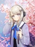 1girl backpack bag bangs blue_cardigan blue_neckwear blue_ribbon blush cardigan character_request cherry_blossoms closed_mouth commentary day expressionless eyebrows_visible_through_hair forever_7th_capital grey_eyes hair_ornament hairclip hand_in_hair hand_up headphones highres long_hair long_sleeves looking_at_viewer neck_ribbon open_cardigan open_clothes outdoors petals ribbon school_uniform sidelocks silhouette solo spring_(season) ssumbi swept_bangs symbol_commentary tree upper_body