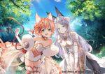 2girls animal_ears bangs bare_shoulders bell bell_choker bent_over boots braid breasts cat_ears cat_girl cat_tail choker clouds cloudy_sky collarbone commentary_request crown_removed day dress eyebrows_visible_through_hair flower forest fox_ears fox_girl fox_tail french_braid gloves grey_eyes hair_between_eyes hair_flower hair_ornament hands_on_own_knees long_hair looking_at_viewer medium_breasts multiple_girls nature open_mouth outdoors parted_bangs pink_hair red_pride_of_eden shinia short_hair short_sleeves showgirl_skirt sidelocks silver_hair single_braid sky sleeveless sleeveless_dress strapless strapless_dress tail thigh-highs thigh_boots tree white_dress white_gloves yellow_eyes