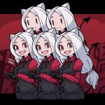 5girls :d animal_ears armband bags_under_eyes bangs big_hair black_border black_gloves black_neckwear black_pants black_vest border breasts buttons cerberus_(helltaker) collared_shirt commentary cropped_legs dated dated_commentary demon_girl demon_tail disconnected_mouth dog_ears dress_shirt english_commentary eyebrows_visible_through_hair fang gloves helltaker letterboxed long_hair long_sleeves medium_breasts multiple_girls necktie open_mouth outside_border pants parted_bangs paw_pose quintuplets red_background red_eyes red_shirt red_theme shirt short_eyebrows signature smile solid_oval_eyes tail umenodo vest white_hair