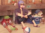 2boys 2girls ball balthus_(fire_emblem) beachball blonde_hair bottle bubble_blowing chewing_gum constance_von_nuvelle crab dark_skin drinking_straw earrings fire_emblem fire_emblem:_three_houses fire_emblem_16 fire_emblem_heroes hapi_(fire_emblem) hat intelligent_systems jewelry knees_up lying multiple_boys multiple_girls necklace nintendo on_stomach open_mouth purple_hair red_eyes redhead sandals short_hair short_sleeves sitting summer sunglasses super_smash_bros. swim_trunks terrifiedmouse yuri_(fire_emblem)