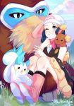 1girl artist_name beanie black_legwear blue_eyes blue_hair blush boots bulkobon buneary clouds commentary day eyelashes gen_4_pokemon grass hair_ornament hat highres hikari_(pokemon) mamoswine one_eye_closed outdoors pachirisu pink_footwear pink_scarf poke_ball_print pokemon pokemon_(anime) pokemon_(creature) pokemon_dppt_(anime) pokemon_on_back scarf sitting sky smile socks teeth white_headwear