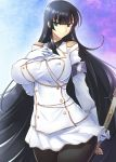 1girl aiguillette armband bangs black_hair black_legwear blunt_bangs breasts buttons closed_mouth coat collared_shirt cowboy_shot eyebrows_visible_through_hair gloves green_eyes hand_on_own_chest hand_up highres holding holding_sword holding_weapon ikaruga_(senran_kagura) large_breasts legs_together long_hair long_sleeves looking_at_viewer military military_uniform necktie senran_kagura senran_kagura_shoujo-tachi_no_shin'ei shirt skirt smile solo sword uniform very_long_hair weapon white_coat white_gloves white_skirt wing_collar