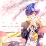 1boy 2019 black_jacket black_ribbon blue_eyes blue_hair blurry_foreground borrowed_garments butterfly_on_hand closed_mouth dress_shirt hair_over_one_eye highres jacket long_sleeves male_focus neck_ribbon persona persona_3 ribbon scarf school_uniform shirt smile solo spring_(season) standing summer_rin upper_body white_shirt yellow_scarf yuuki_makoto