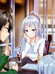 1boy 2girls ahoge arrichee bangs blurry_foreground blush brown_hair closed_mouth commentary_request cup drinking_straw green_sweater grin hair_between_eyes hand_on_own_cheek high_ponytail highres hikigaya_hachiman ice ice_cube indoors kawasaki_keika kawasaki_saki long_hair long_ponytail looking_at_viewer multiple_girls orange_scrunchie scrunchie shirt short_hair sidelocks silver_hair sitting smile sweater table violet_eyes white_shirt yahari_ore_no_seishun_lovecome_wa_machigatteiru.